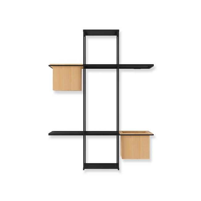 Cubist Multi Wall Shelf - Natural, Black - 4
