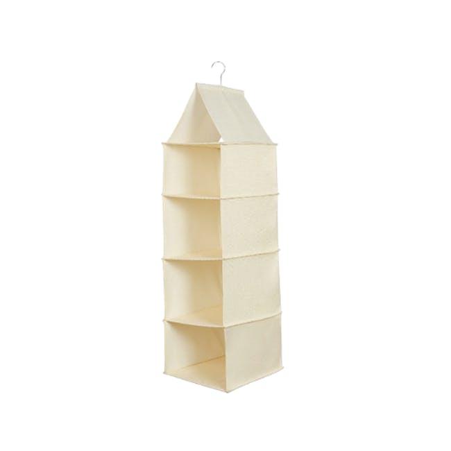 Cindy 4-Tier Hanging Wardrobe Organiser - Cream - 0