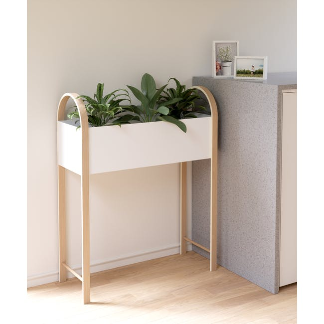 Grove Planter with Storage - White, Natural - 7