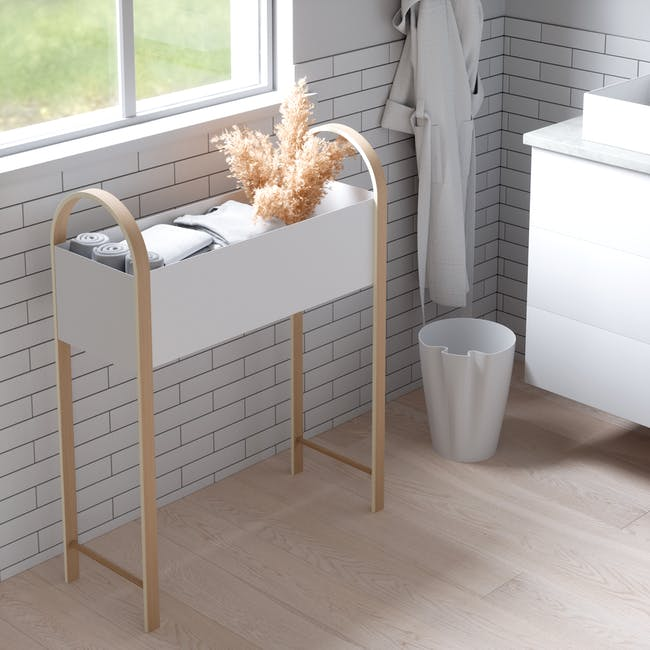 Grove Planter with Storage - White, Natural - 8