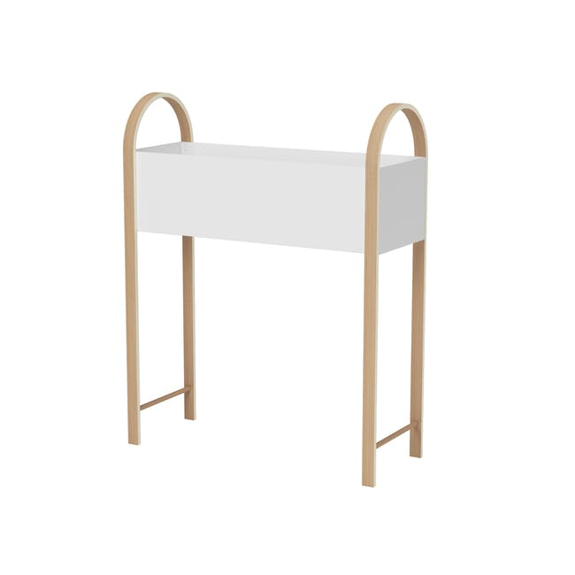 Grove Planter with Storage - White, Natural - 2