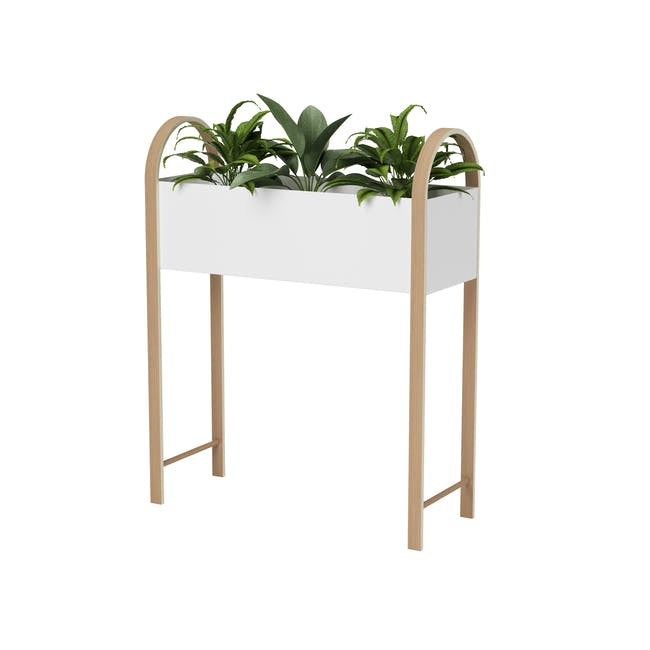 Grove Planter with Storage - White, Natural - 0