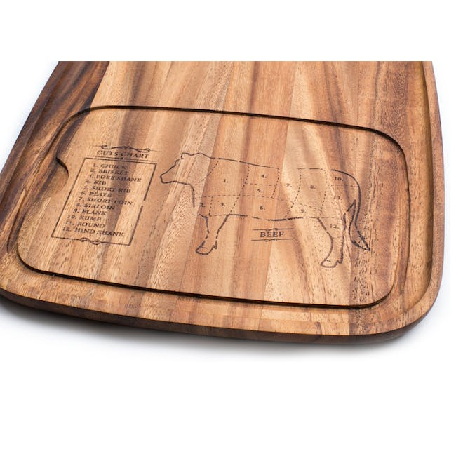 Ironwood Cow Engraved Steak BBQ Plate w/ Juice Channel - 1