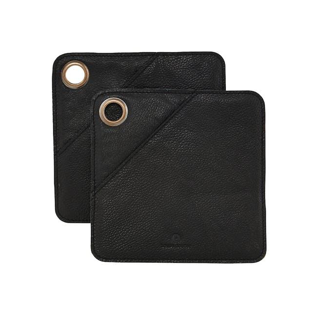 Daniel Leather Potholders - Black (Set of 2) - 0