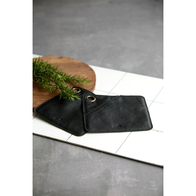 Daniel Leather Potholders - Black (Set of 2) - 1