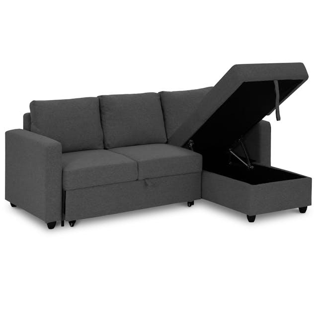 Mia L-Shaped Storage Sofa Bed -  Graphite - 7