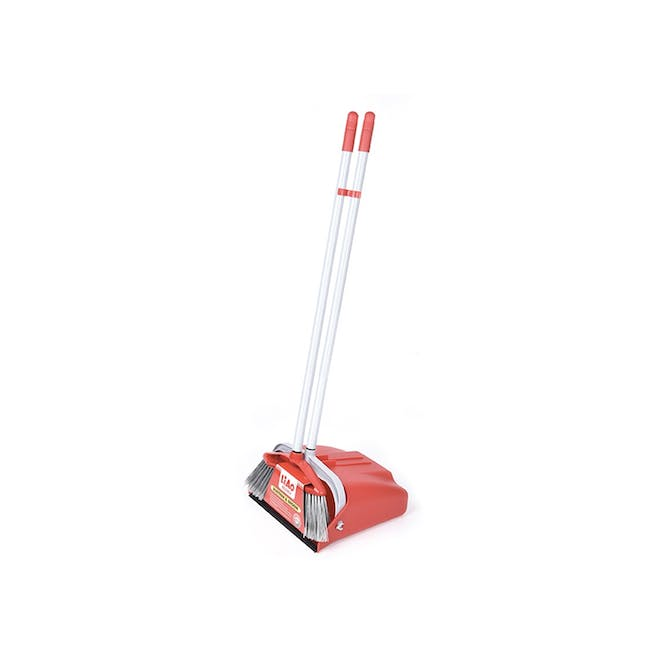 Swivel Dustpan and Broom Set - Red - 0