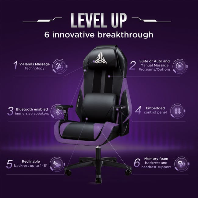 OSIM uThrone Gaming Massage Chair - Self Assembled - Black - 1
