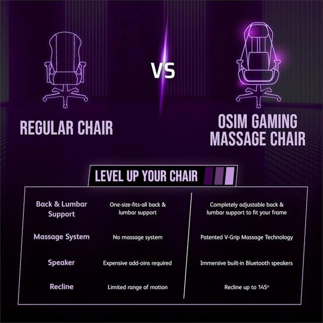OSIM uThrone Gaming Massage Chair - Self Assembled - Black - 9