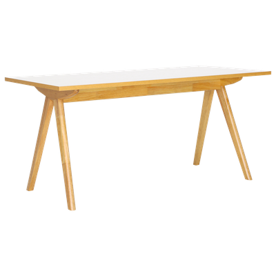 Aden 6 Seater Dining Table - Natural, White Laminate - Image 2