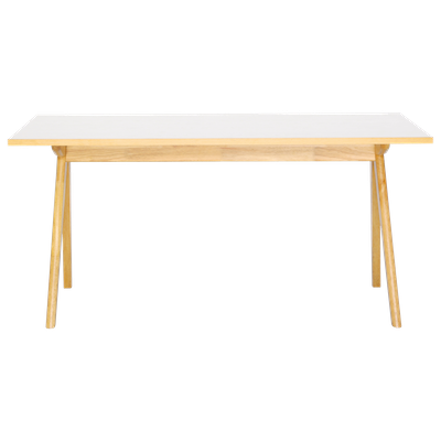 Aden 6 Seater Dining Table - Natural, White Laminate - Image 1