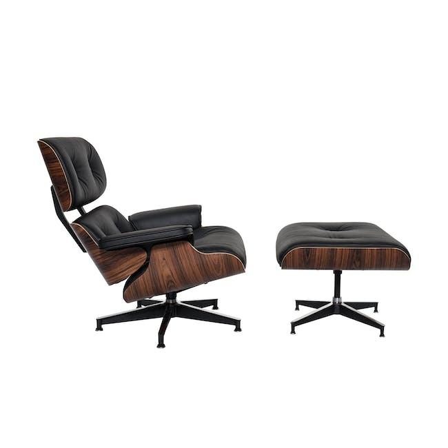 Rexton 3 Seater Sofa in Brown with Eames Lounge Chair and Ottoman - 8