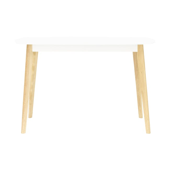 Harold Dining Table 1.2m in White with 4 Ladee Dining Chairs in Pale Silver - 5