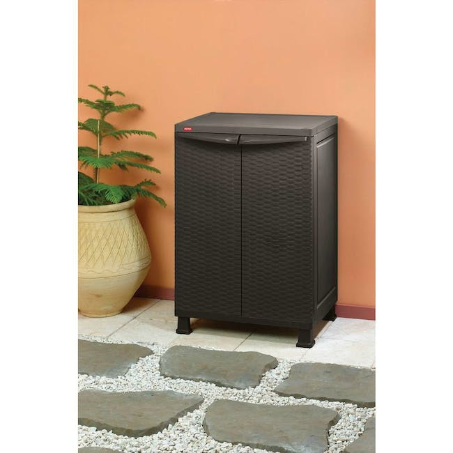 Rattan Wall and Base with Legs - Dark Brown - 2