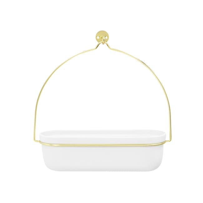 Oliver Basket Hanging Planter - White, Brass - 0