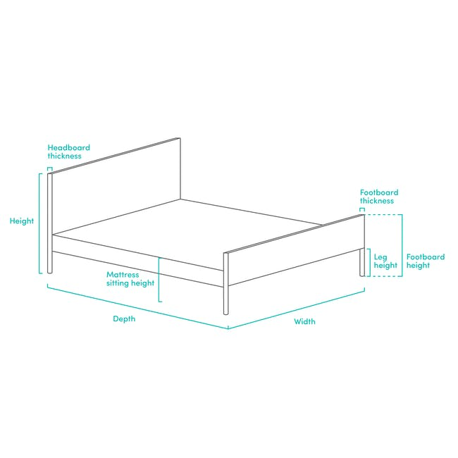 Katana Queen Headboard Bed with 2 Bowen Bedside Tables in Natural, White - 8
