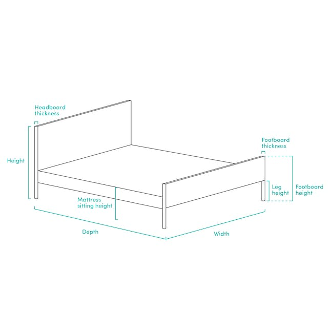 Katana Super Single Headboard Bed with 1 Bowen Bedside Table in Natural, White - 8
