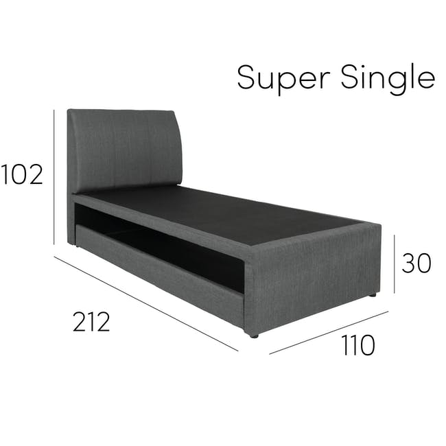 ESSENTIALS Super Single Trundle Bed - White (Faux Leather) - 15