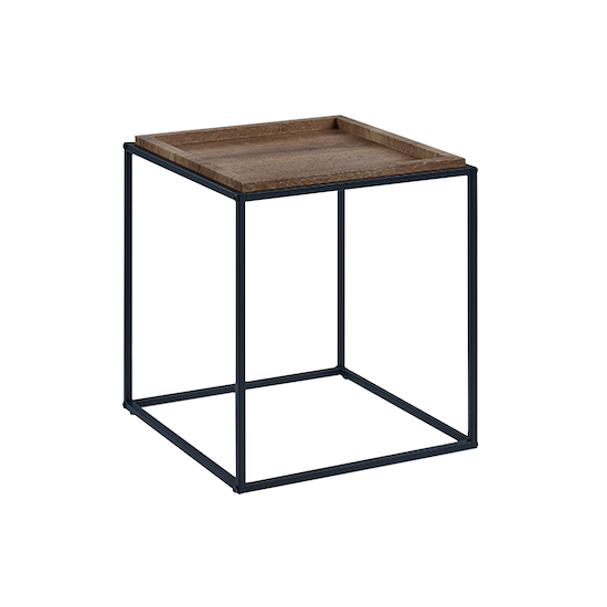 Glass and Metal - Dana Square Side Table - Walnut