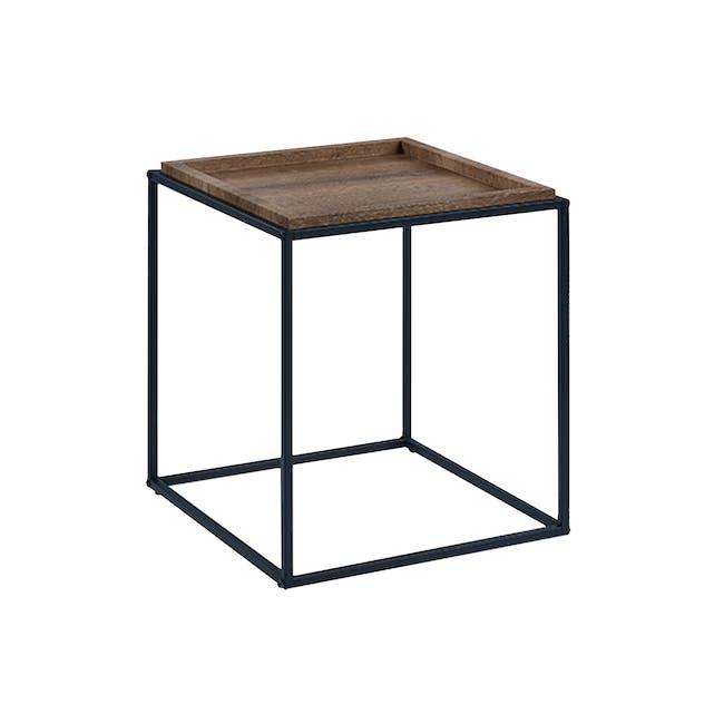 Dana Rectangle Coffee Table 1m and Dana Square Side Table - Walnut - 1