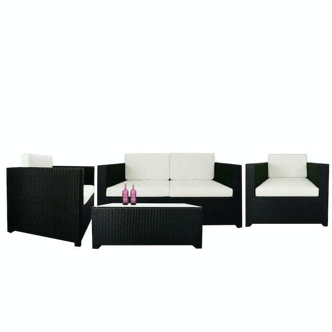Black Fiesta Outdoor Sofa Set II - White Cushions - 0