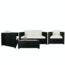 Black Fiesta Sofa Set II with White Cushions
