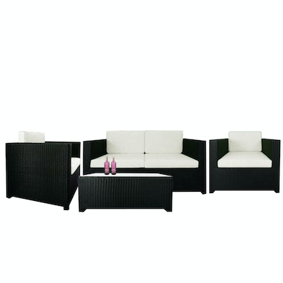 Black Fiesta Sofa Set II with White Cushions - Image 1