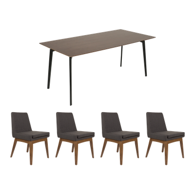 Dexter Dining Table 1.8m with 4 Fabian High Back Dining Chairs - Image 1