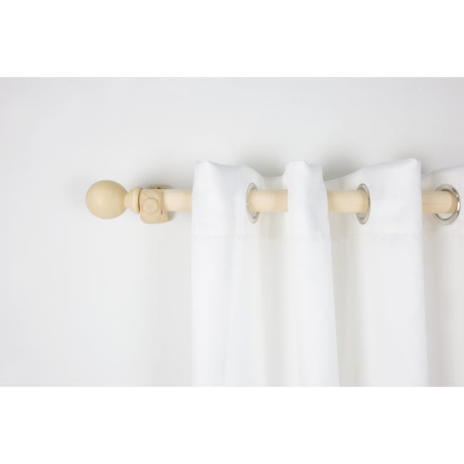Wooden Curtain Rod with Wall Mount 1.5m - Natural - 4