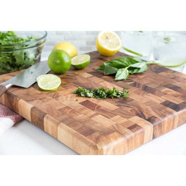 Ironwood Square End Grain Chef's Acacia Cutting Serving Board - 2