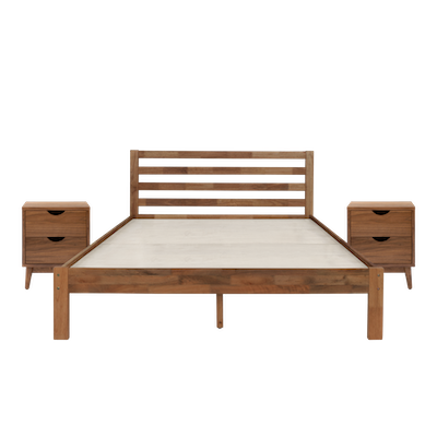 Kyoto Solid Wood Queen Bed with 2 Kyoto Twin Drawer Bedside Tables - Walnut - Image 1