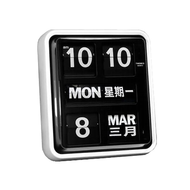 TWEMCO Big Calendar Flip Wall Clock with Chinese Text - White Case Black Dial - 0