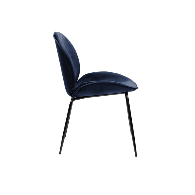 Telyn Oval Dining Table 1.6m with 4 Lennon Dining Chairs in Royal Blue and Pine Green Velvet - 7