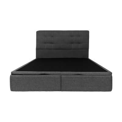 ESSENTIALS Tufted Headboard Bed with Storage - Smoke (Fabric)- 4 Sizes - Image 1