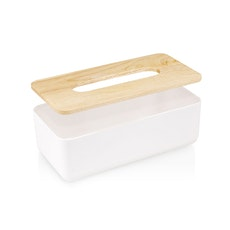 Wooden Tissue Box - White