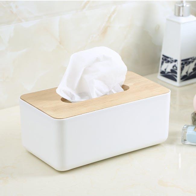 Wooden Tissue Box - White - 1