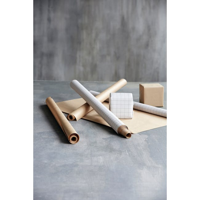 Grid Kraft Wrapping Paper - 5m (Set of 2) - 3