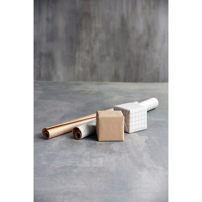 Grid Kraft Wrapping Paper - 5m (Set of 2) - 1