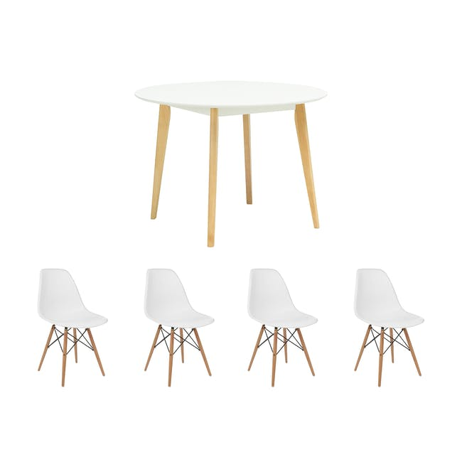 Harold Round Dining Table 1m with 4 DSW Chairs - White - 0