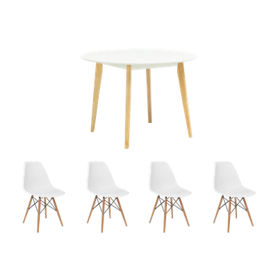 Harold Round Dining Table 1m with 4 DSW Chairs - White - Image 1