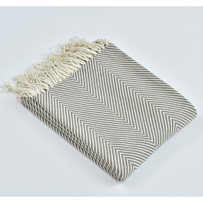 Jordie Stripe Throw - Grey - 5