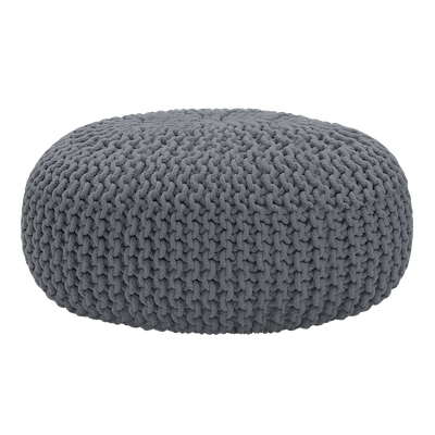 Maui Knitted Pouffe - Charcoal Grey - Image 1