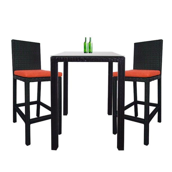 Midas 2 Chair Bar Set - Orange Cushion - 0