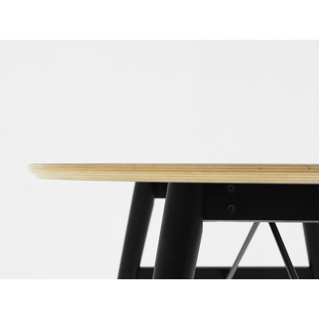 Fleming Oval Dining Table 1.8m - White, Black - 5