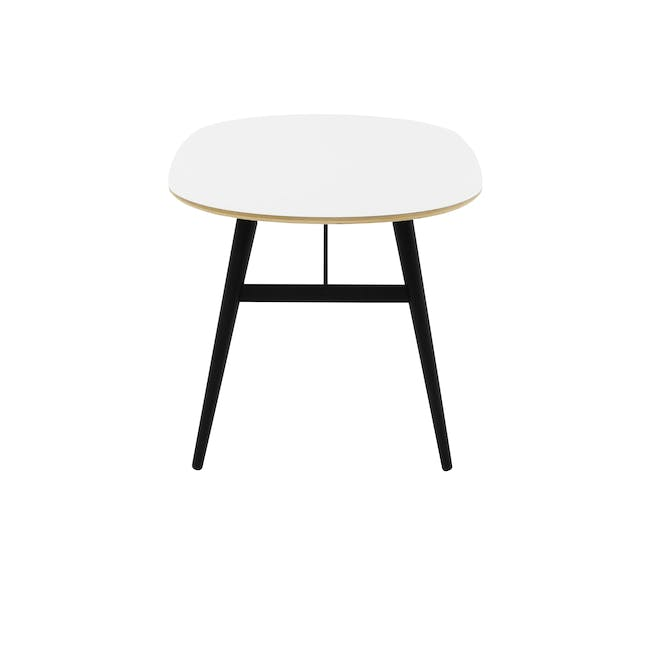 Fleming Oval Dining Table 1.8m - White, Black - 3