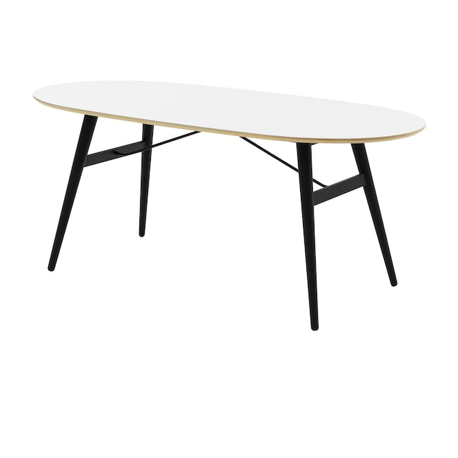 Fleming Oval Dining Table 1.8m - White, Black - 0