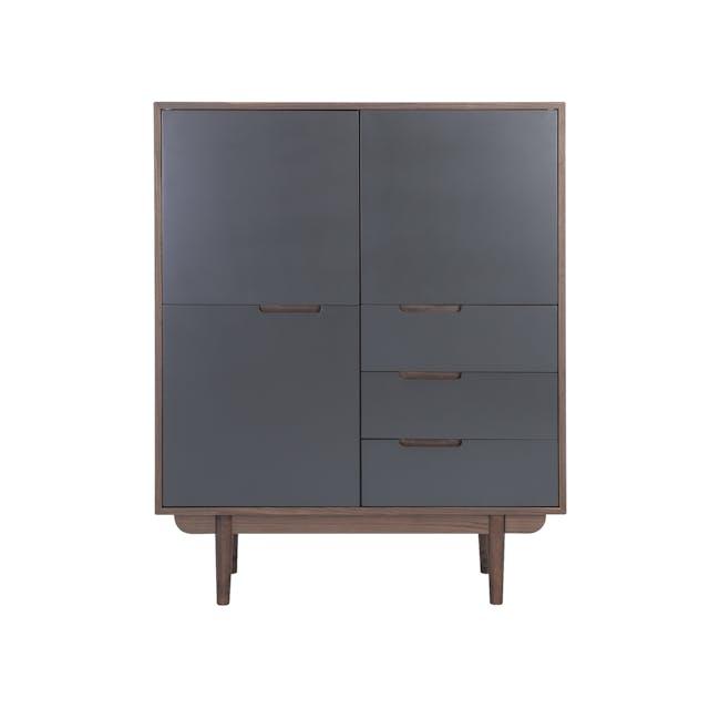 Larisa Tall Sideboard 1.1m - Walnut, Grey - 0