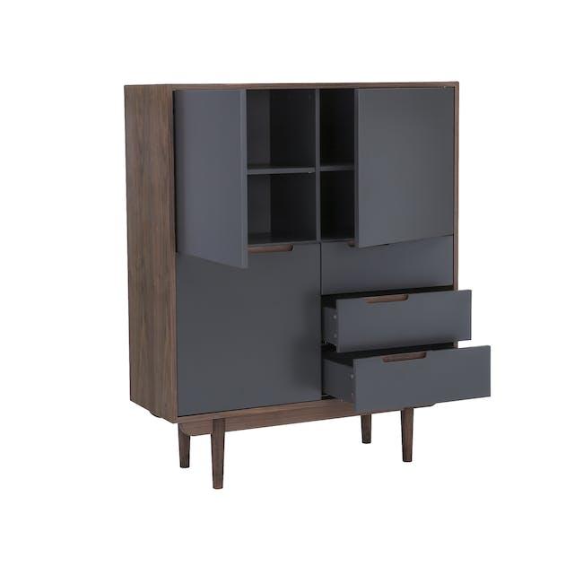 Larisa Tall Sideboard 1.1m - Walnut, Grey - 4