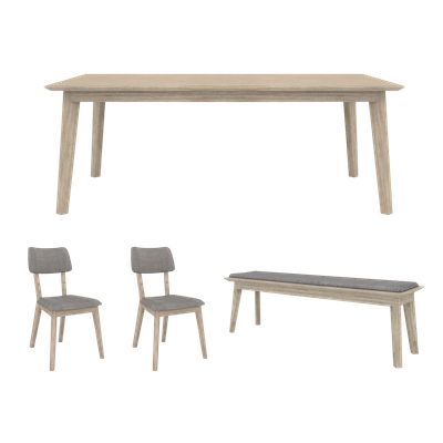 Leland Dining Table 1.6m with Leland Cushioned Bench 1.3m with 2 Leland Dining Chairs - Image 1