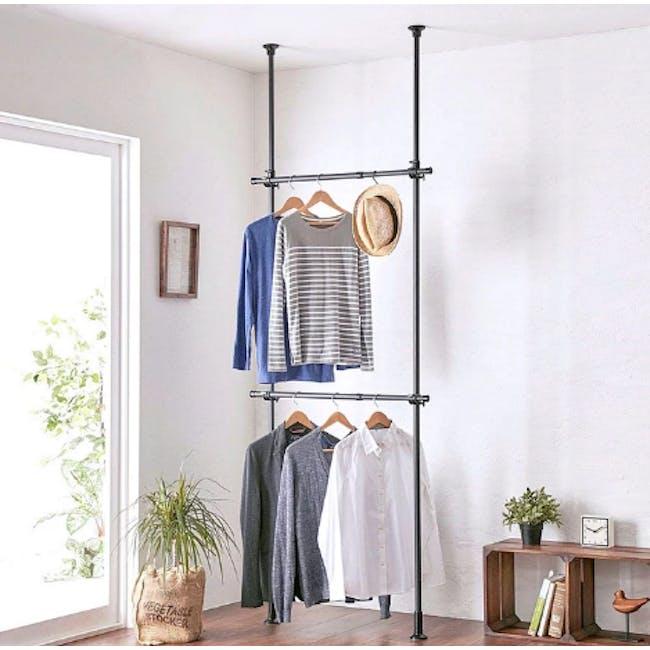 HEIAN 2 Tier Adjustable Clothes Hanger Rack - Black - 0